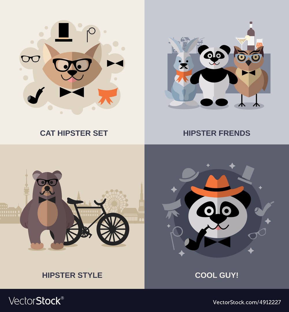 Animal hipster set vector
