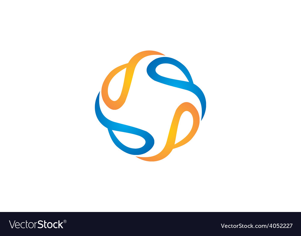 Circle abstract swirl tech logo vector