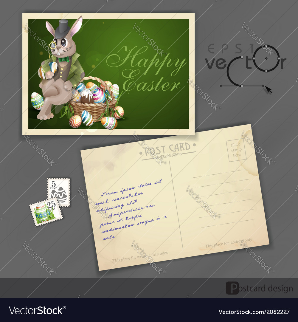 Easter bunny with a basket vector