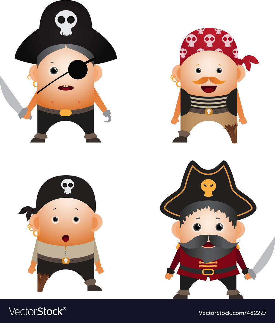 Set of cartoon pirates vector