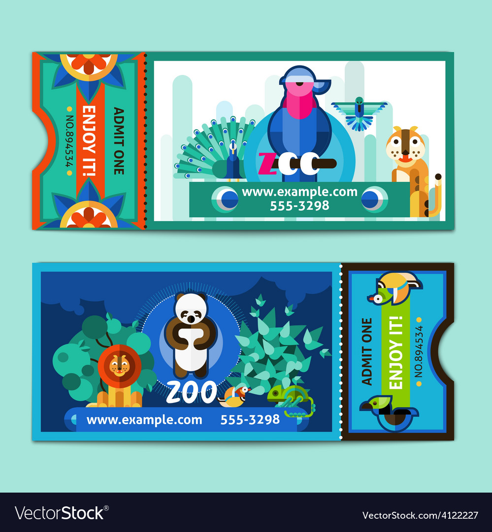 Zoo tickets set vector