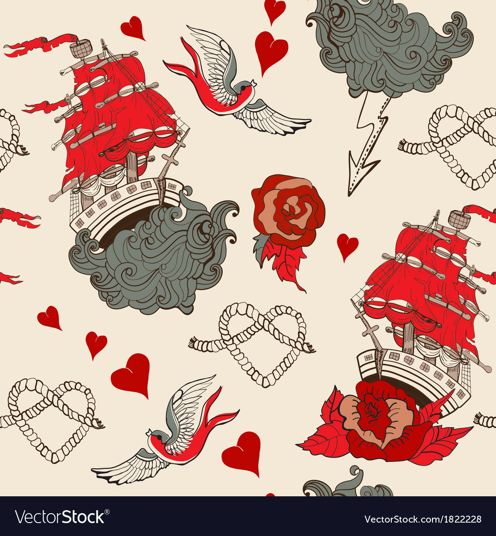 Seamless vintage pattern with ship for valentine vector