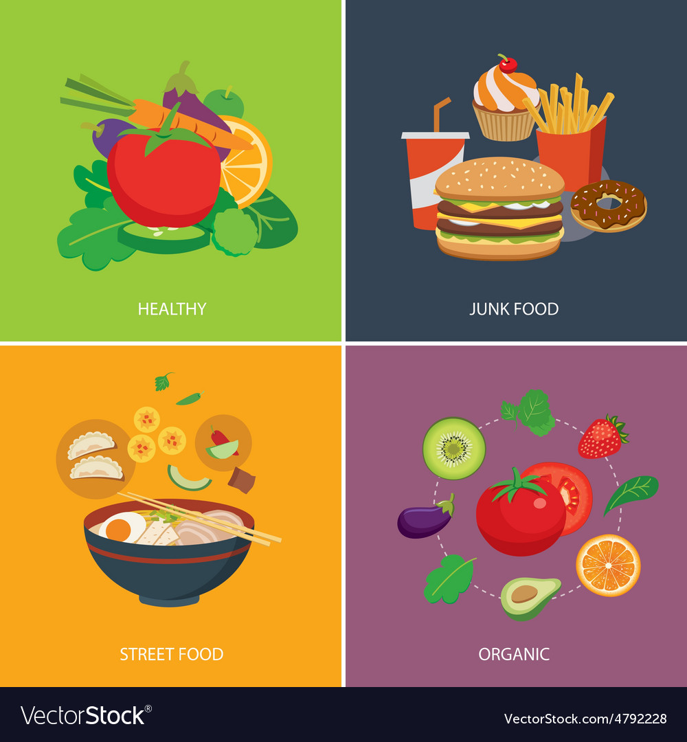 Set of flat design concept for food vector