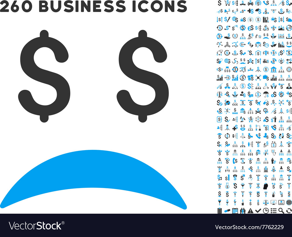 Bankrupt sad emotion icon with flat set vector