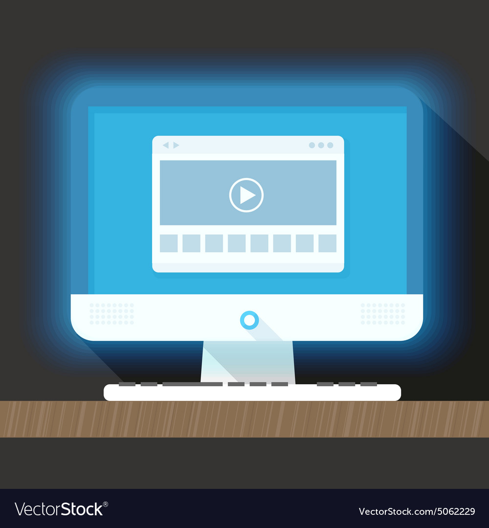 Modern personal computer with a browser vector