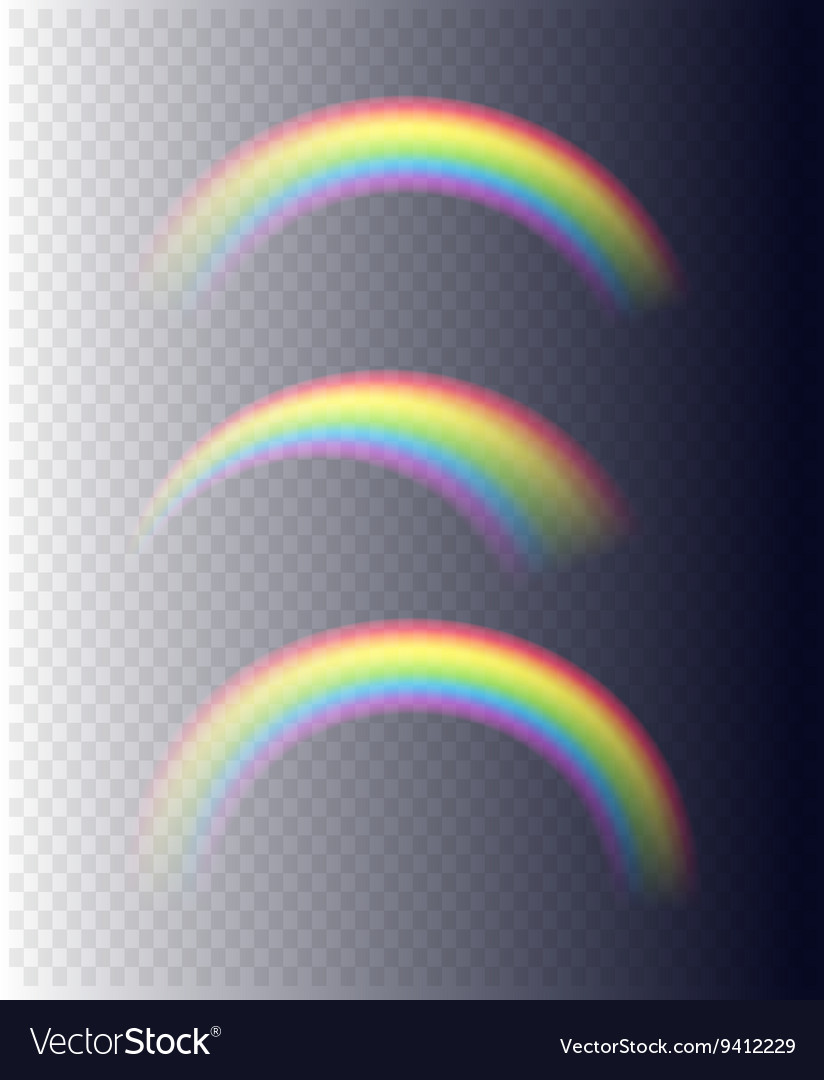 Transparent rainbows in different shapes vector