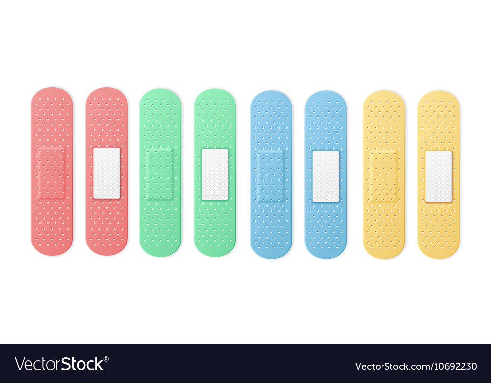 Aid band plaster strip medical patch set color vector
