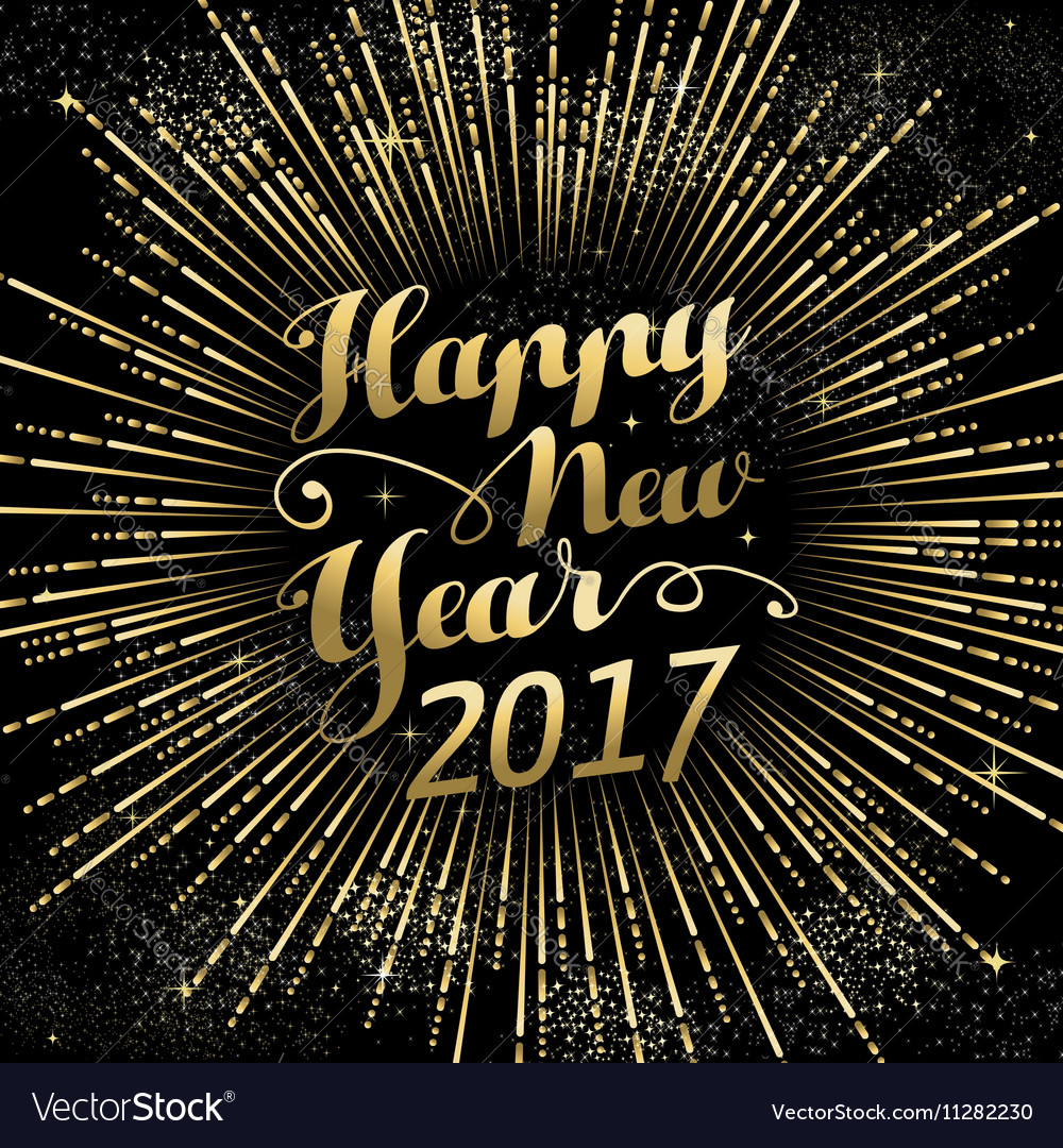Happy new year 2017 gold holiday background vector