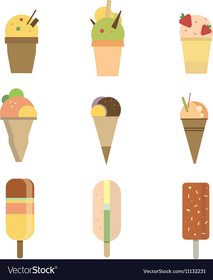 Collection of 9 icon ice cream vector