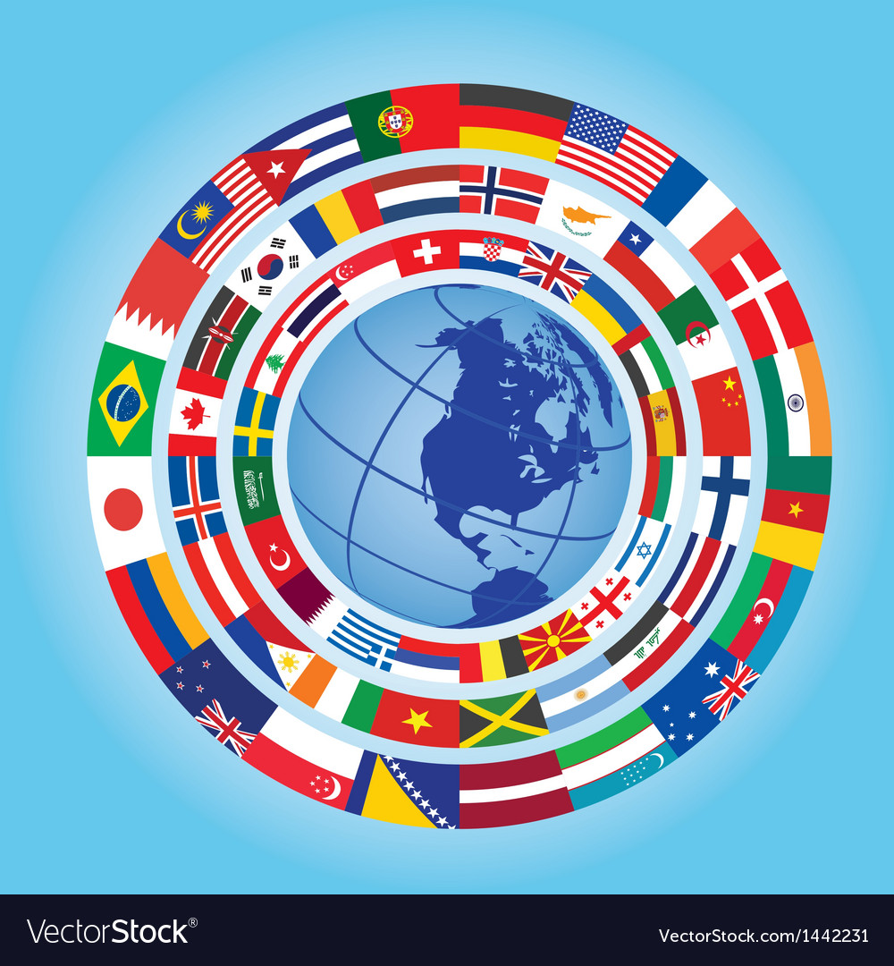 Flags around globe vector