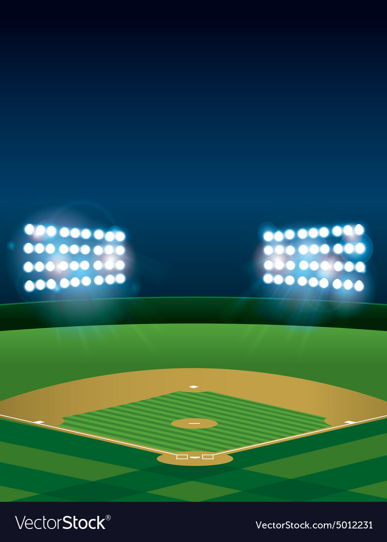Vertical baseball stadium vector