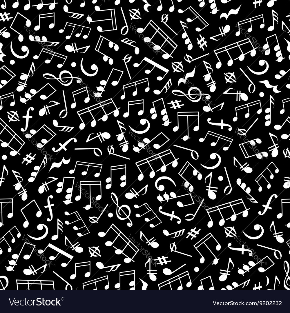 Black and white music seamless pattern with notes vector