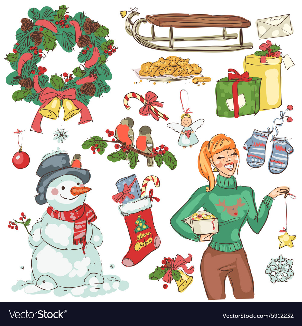 Christmas decoration and presents vector