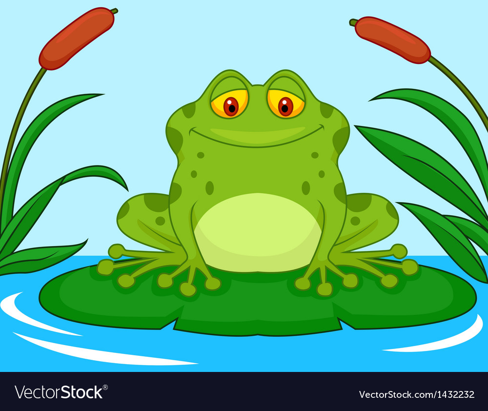 Cute green frog cartoon on a lily pad vector