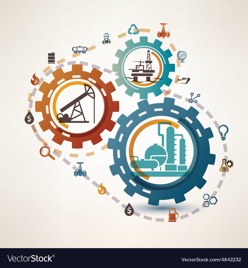Oil and gas industry infographics extraction vector