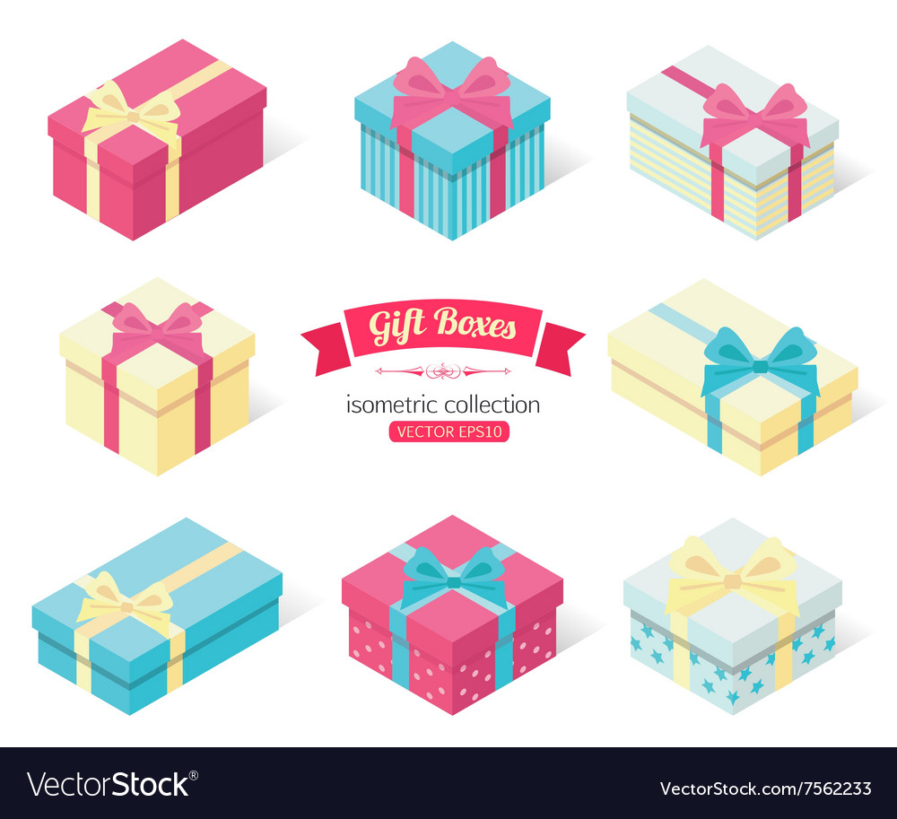 Set of 3d isometric colorful gift boxes with bows vector