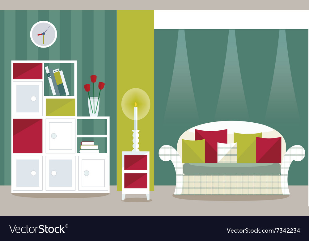 Living room with spot lights vector
