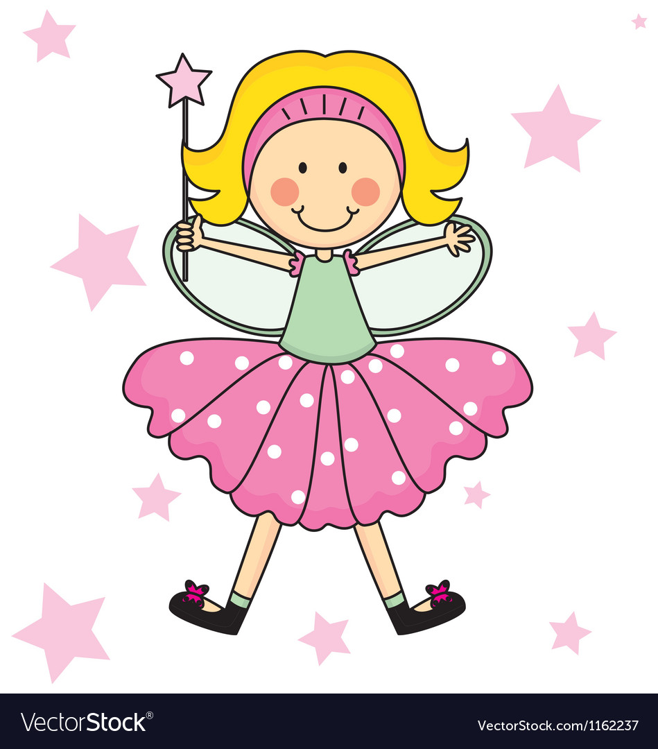 Child fairy with a magic wand vector