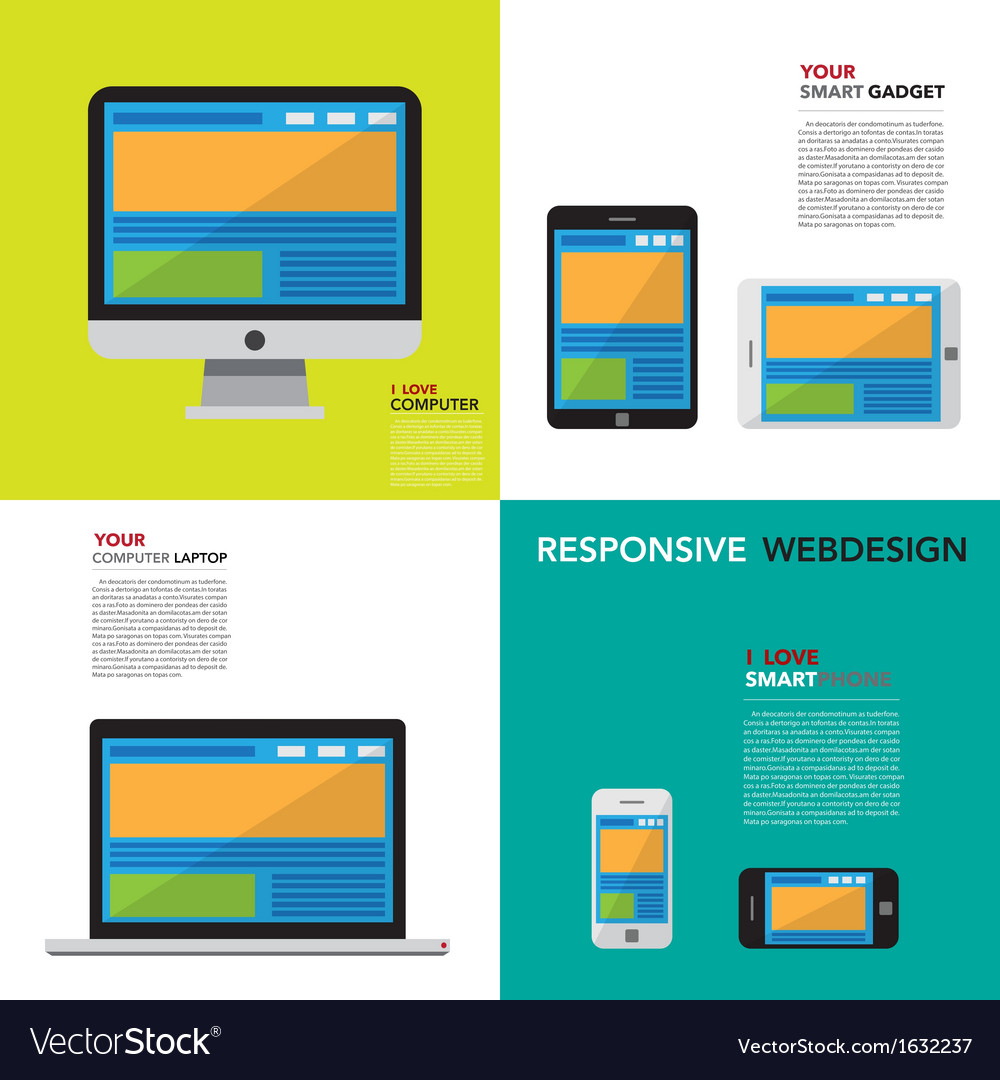 Responsive webdesign on computer smartphone and t vector