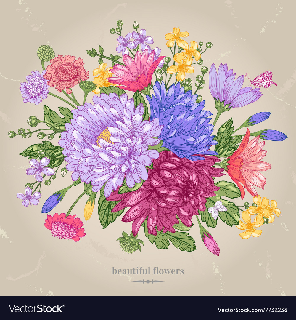 Greeting card with a bouquet vector