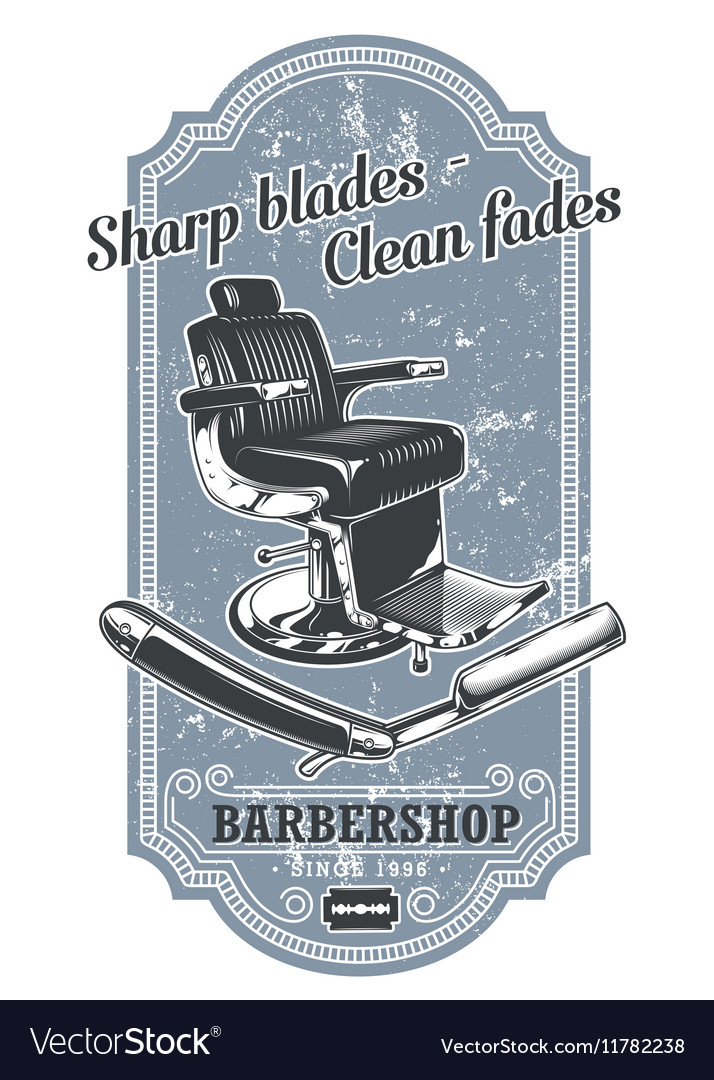 Vintage barbershop label with barber chair and vector