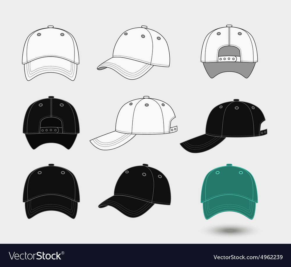 Baseball cap back front and side view vector