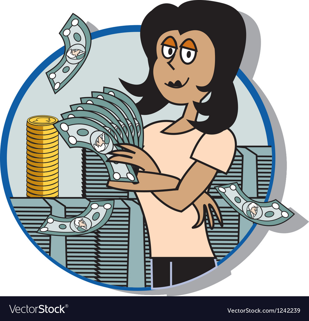 Business lady money vector