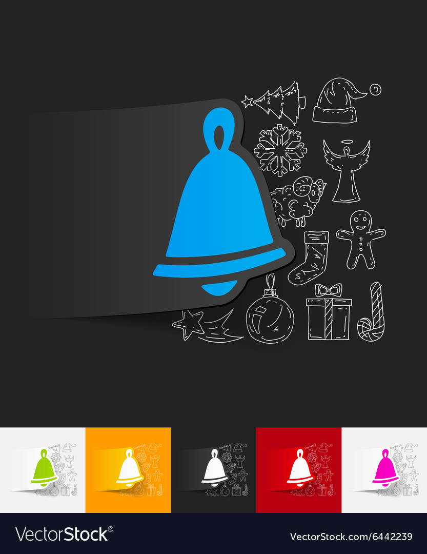 Christmas bell paper sticker with hand drawn vector