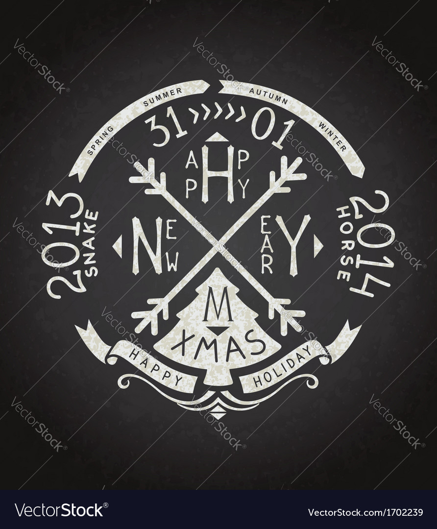 Happy new year retro chalkboard lettering vector