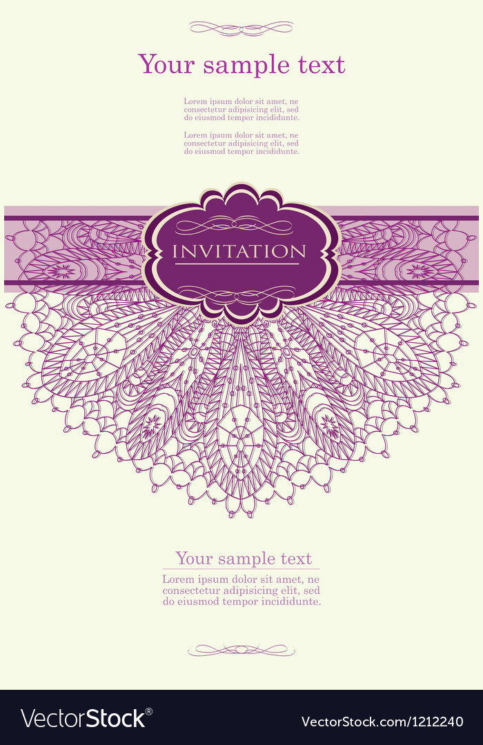 Beautiful purple invitation card vector