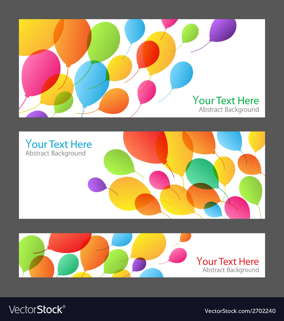 Set of holiday banners with colorful balloons vector