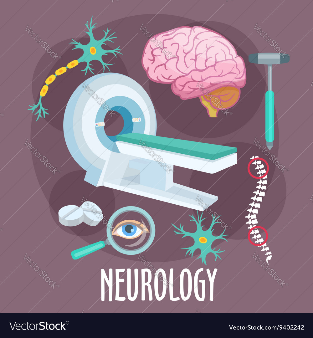 Neurology flat symbol with brain research icons vector
