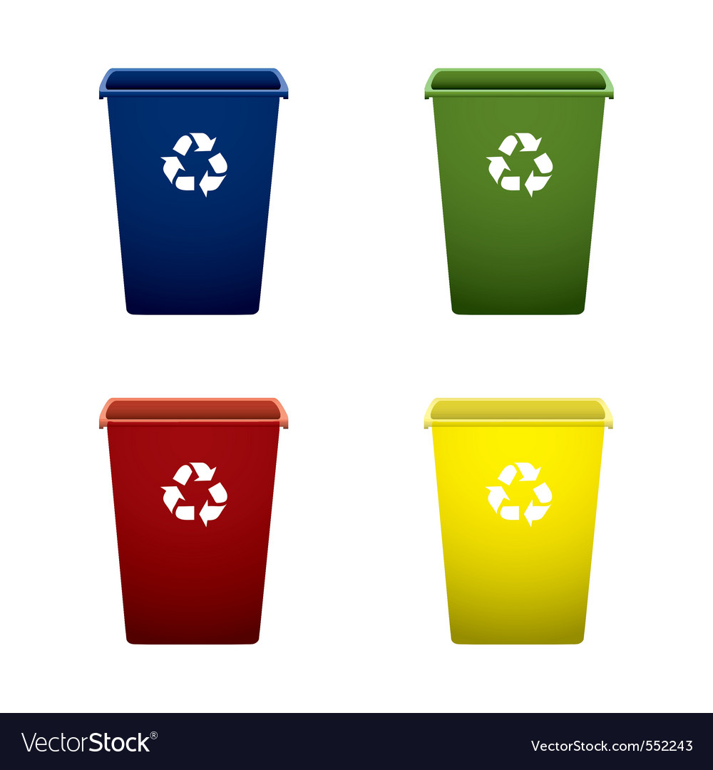 Collection of colourful recycle trash or rubbish b vector
