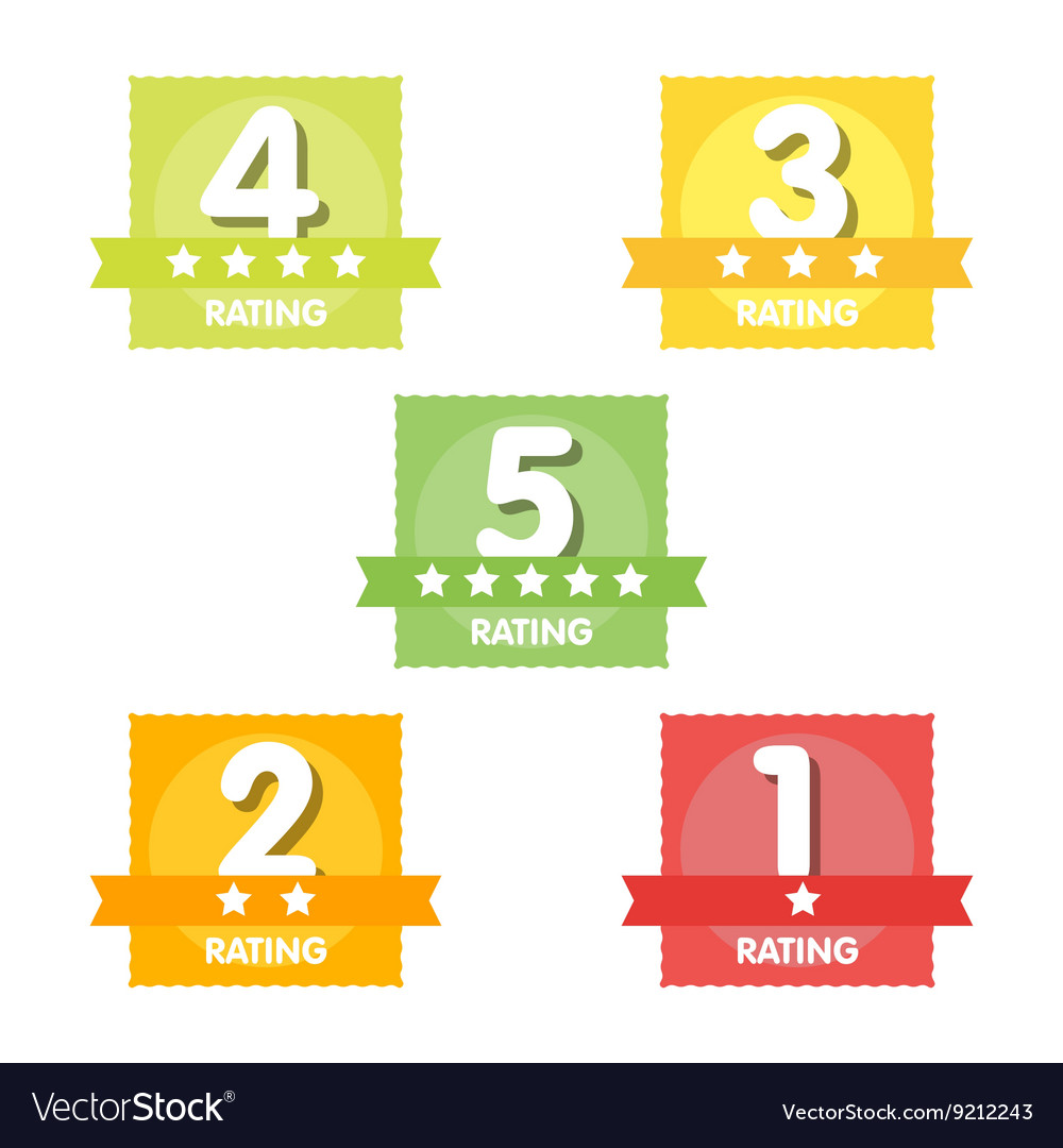 Rating label stars set vector
