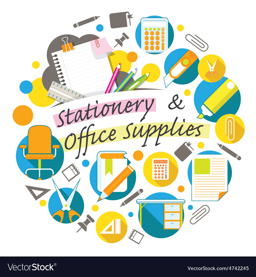 Office supplies and stationery heading vector