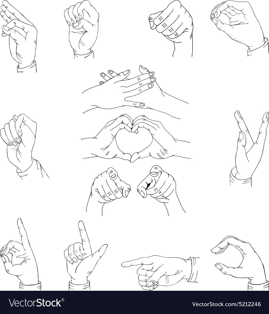 13 hands sketch vector