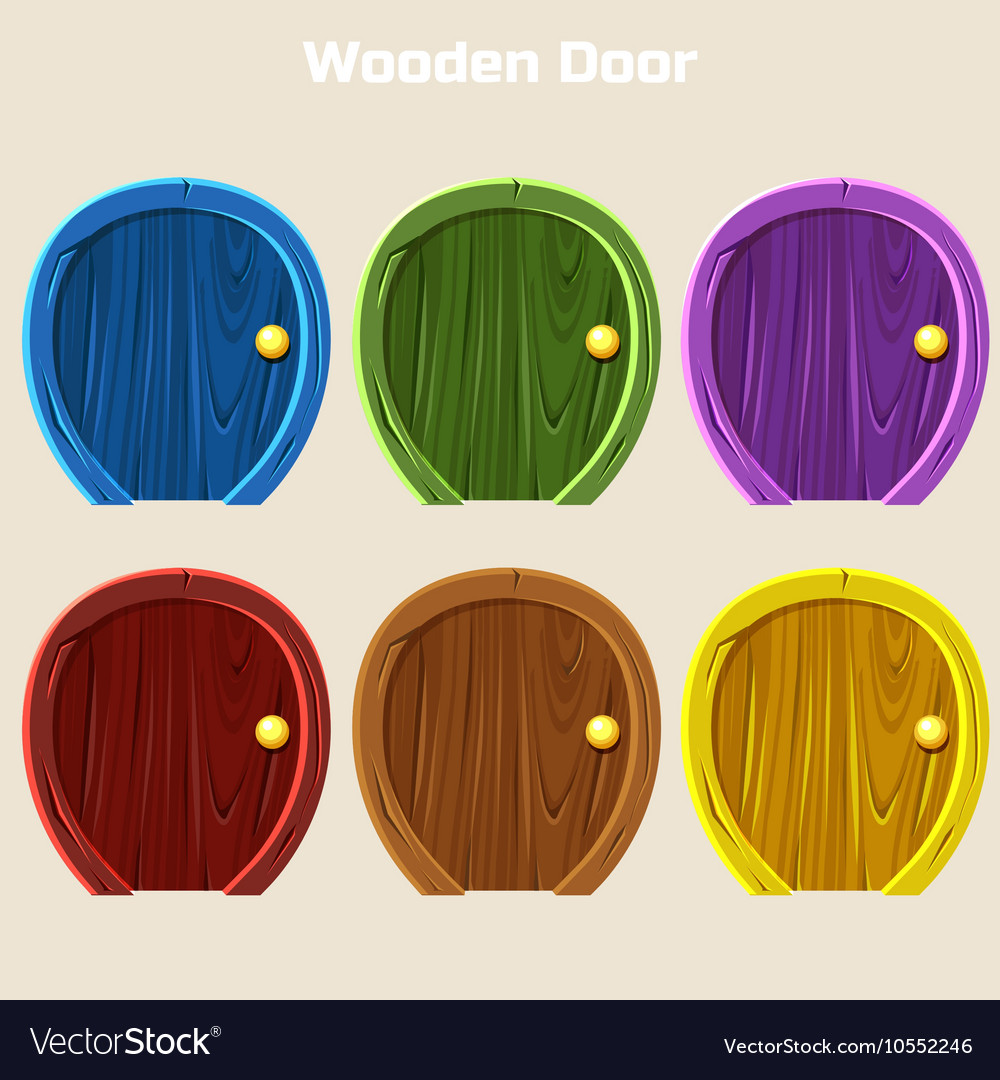 Cartoon wooden colorful rounded door for vector