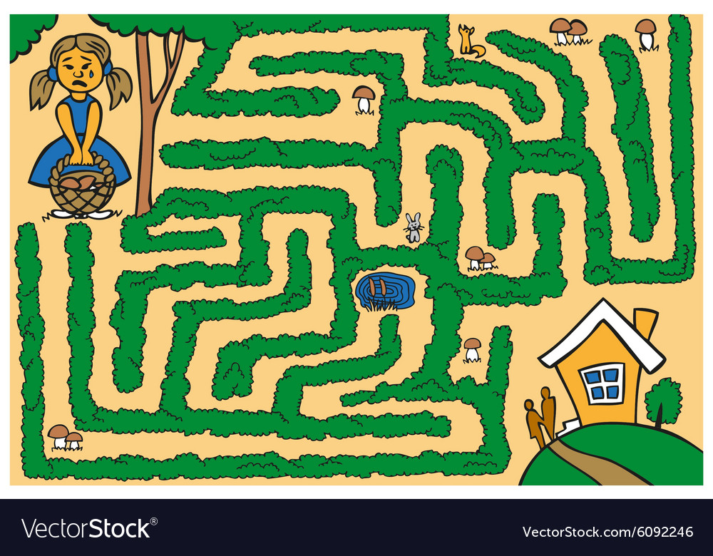 Maze girl lost in woods vector