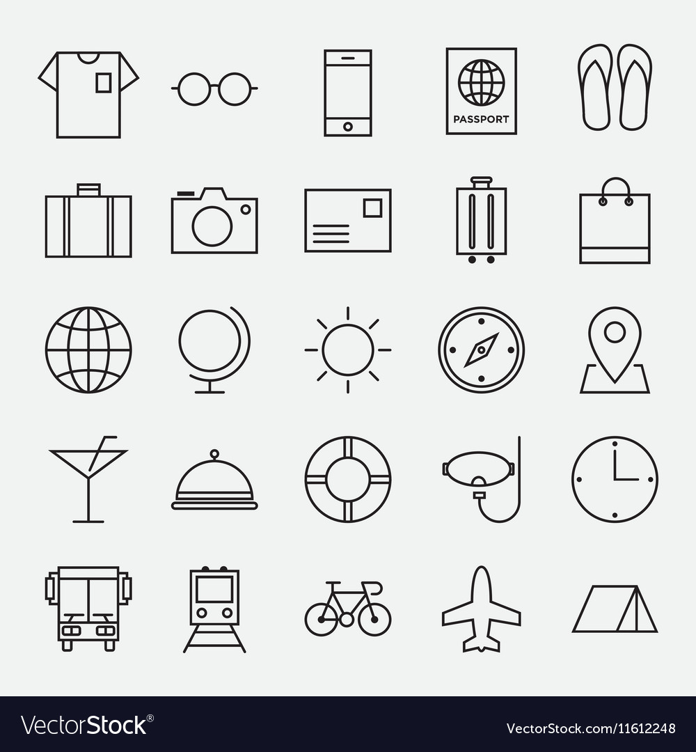 Collection of travel line icon vector