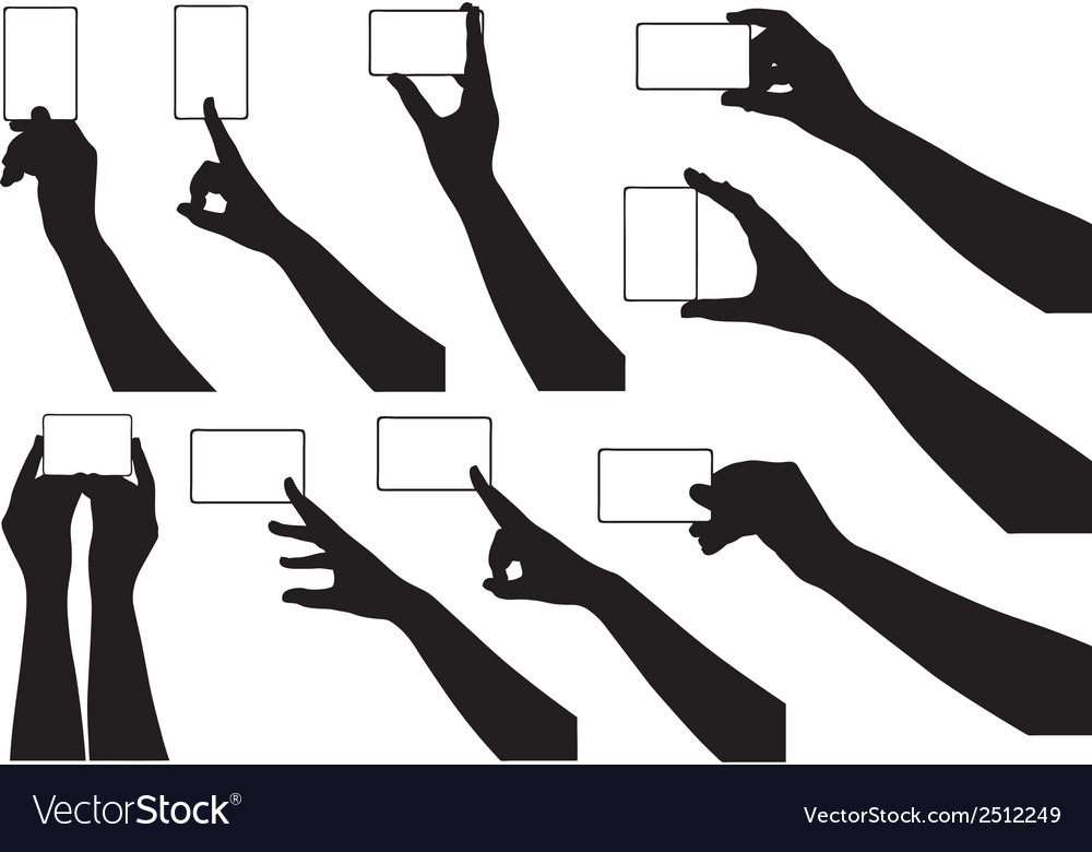 Hands holding business cards vector