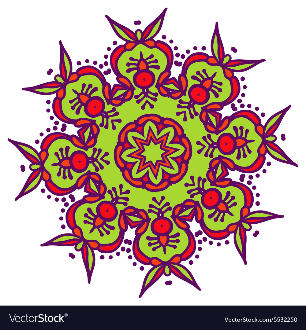 Handdrawn colored mandala zentangl holi festival vector