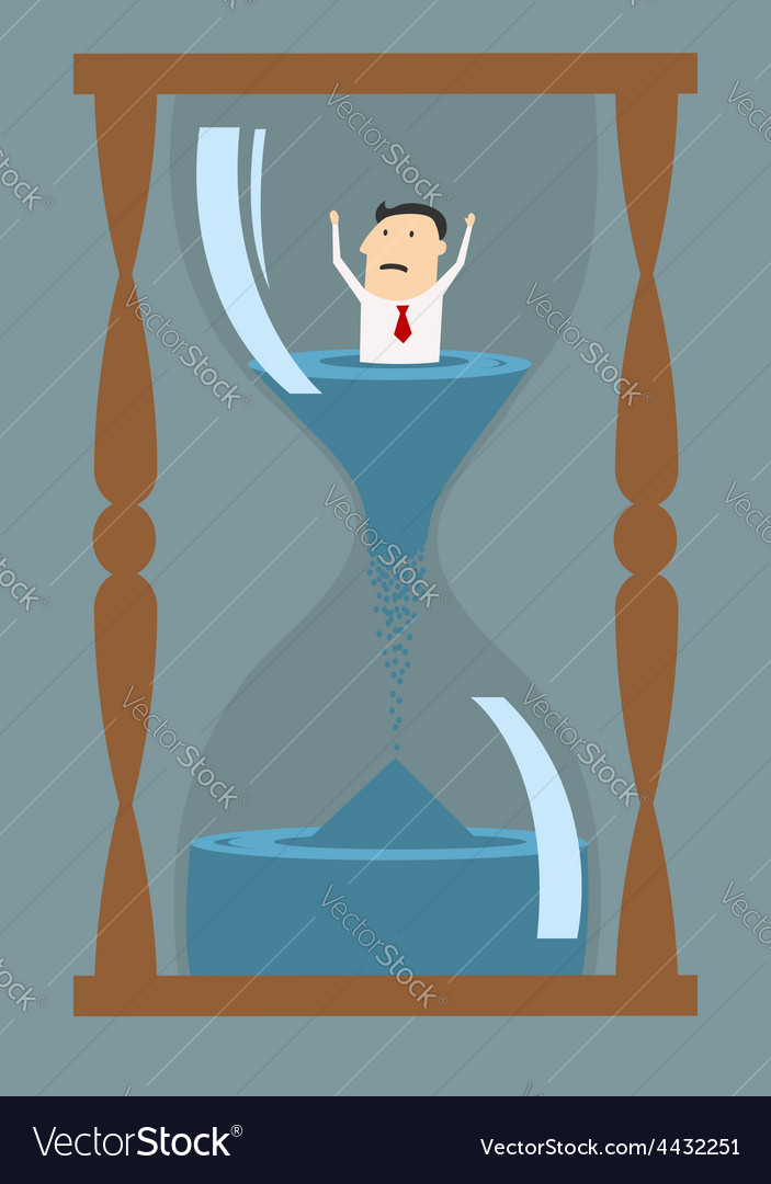 Cartoon businessman drowning in time vector