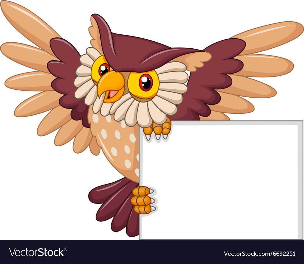Cartoon owl bird flying holding blank sign vector