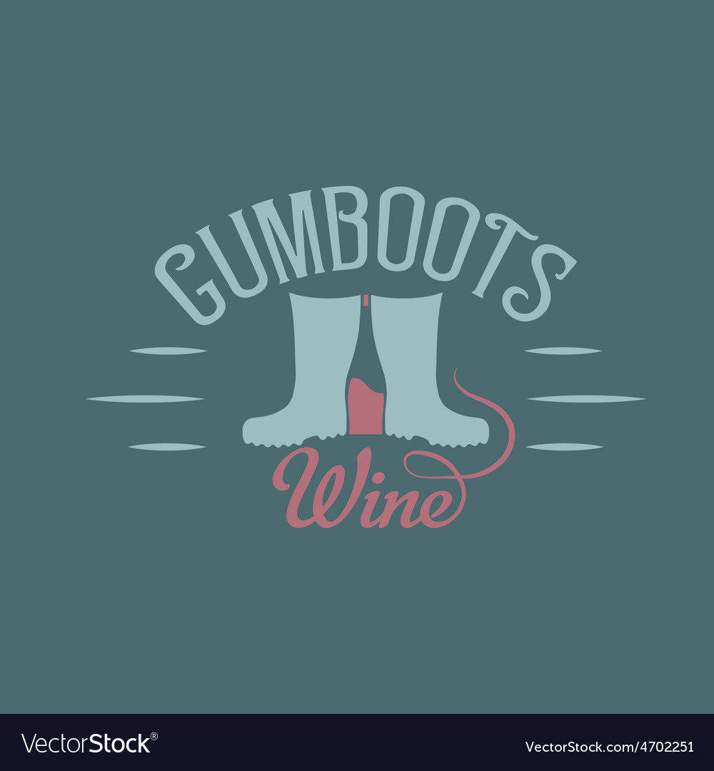 Gumboots wine retro design negative space concept vector