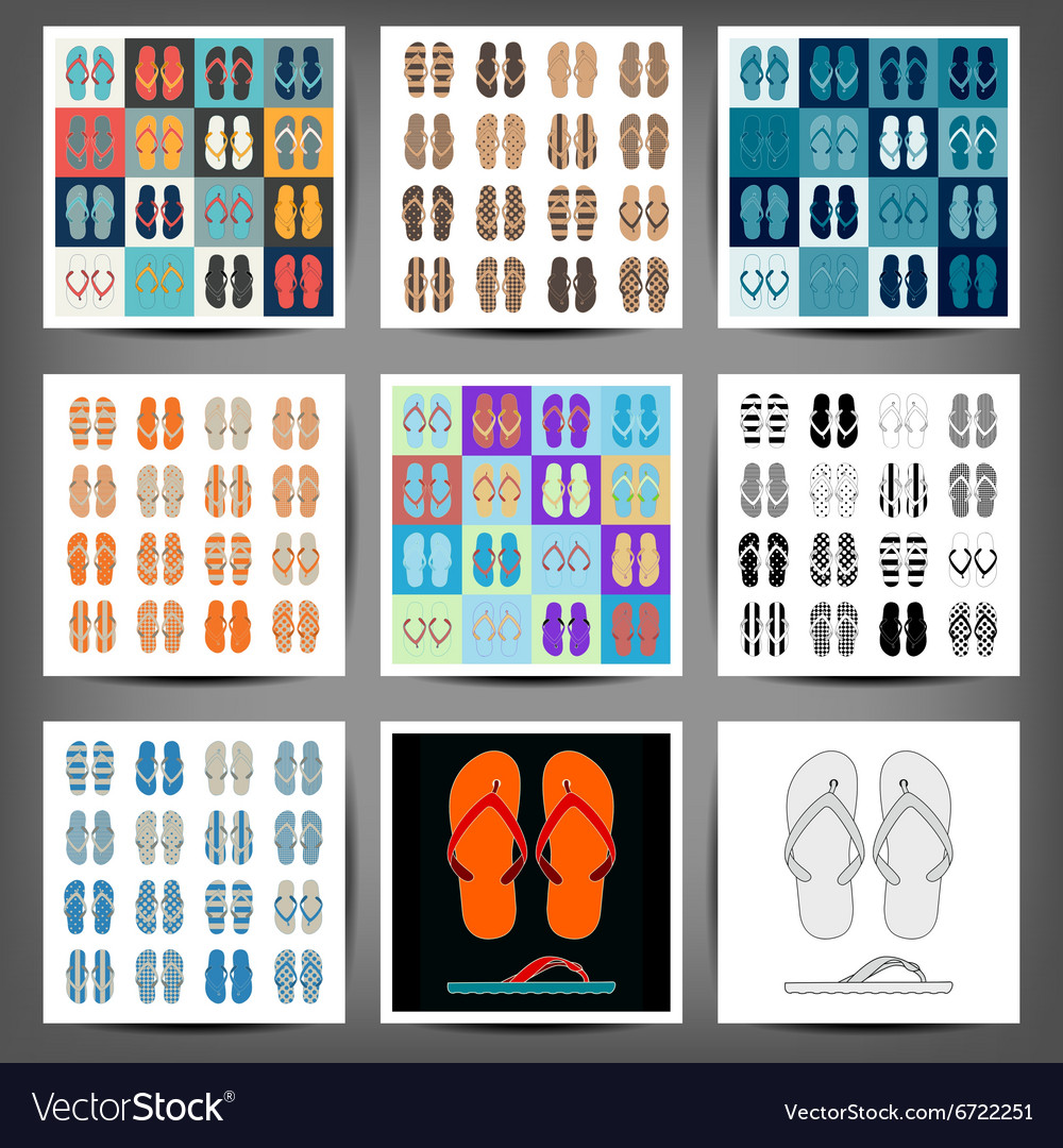 Summer colorful flip flops set vector
