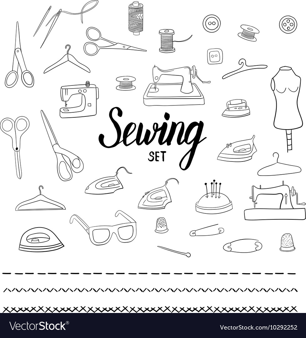 Sewing set with hand drawn elements vector