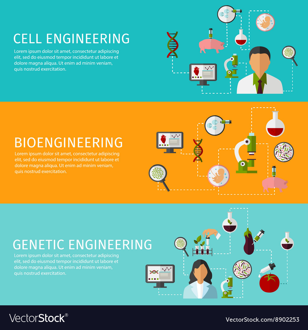 Three biotechnology banner set vector