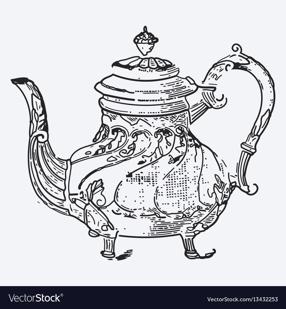Vintage tea pot engraving ephemeral vector
