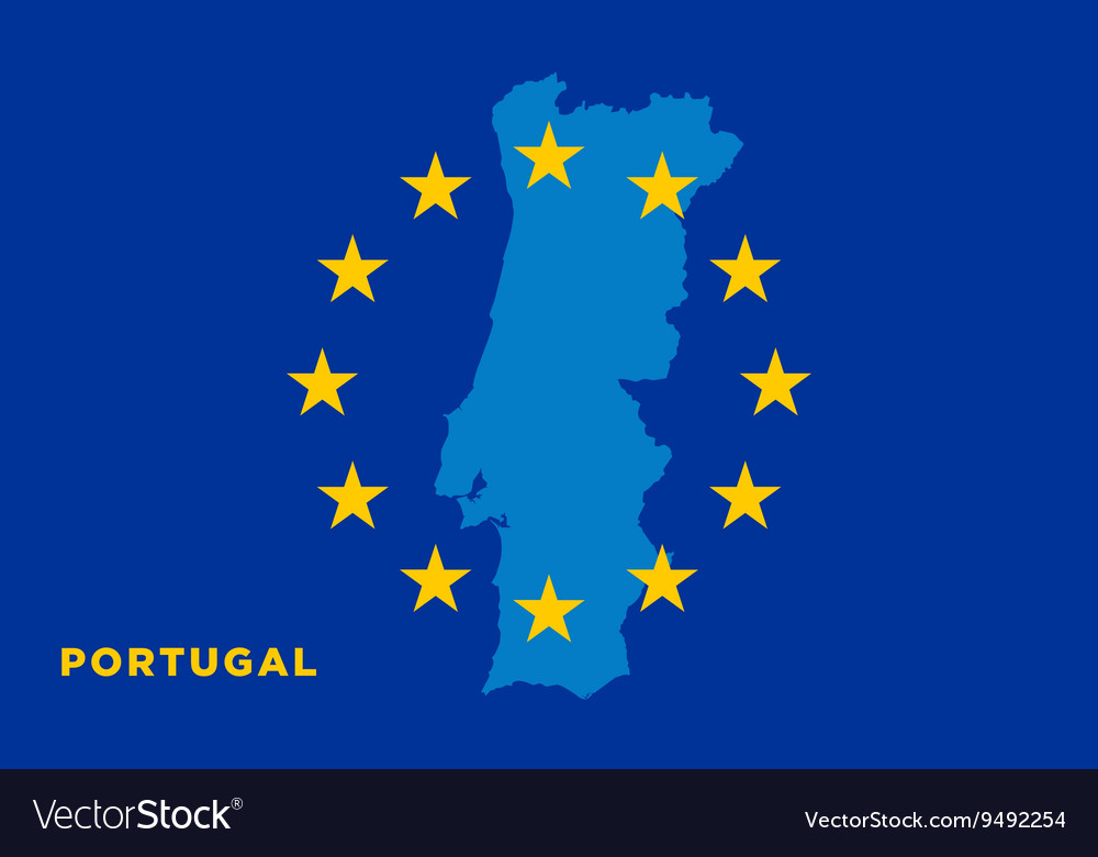 Flag of european union with portugal on background vector