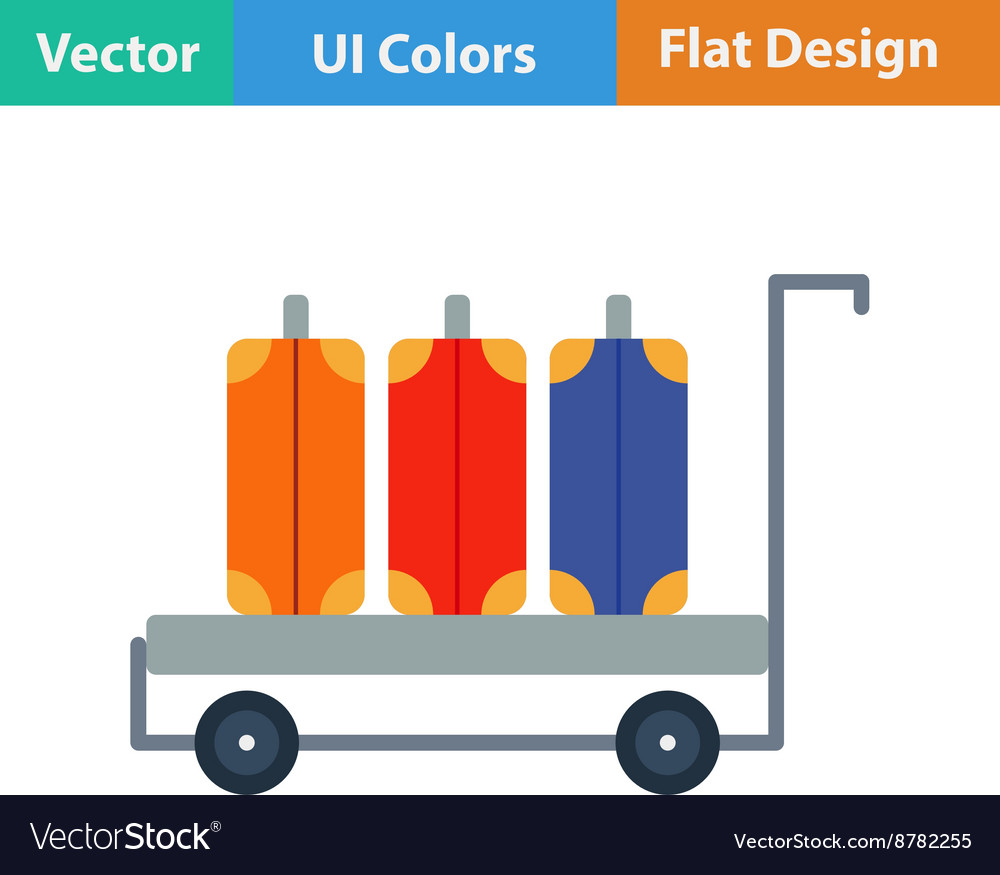 Flat design icon of luggage cart vector